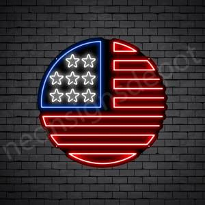 Circle American Flag Neon Sign - black