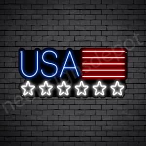 Star USA Flag Neon Sign - black
