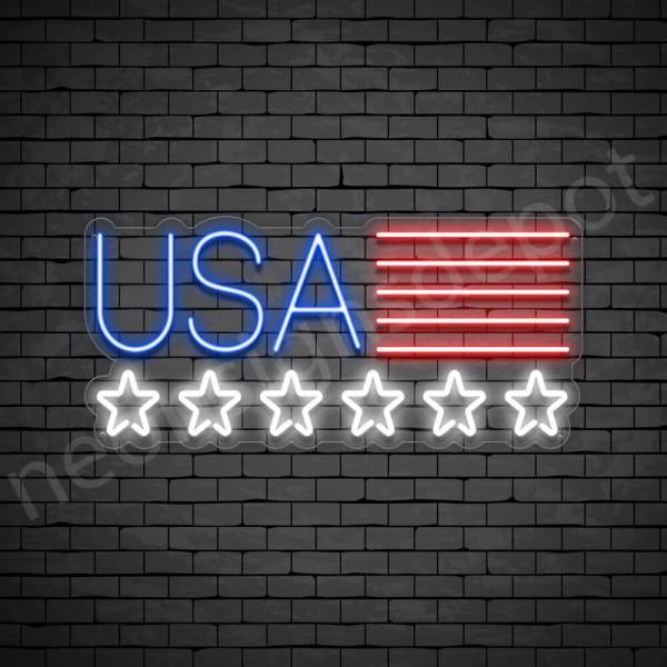 Star USA Flag Neon Sign - transparent