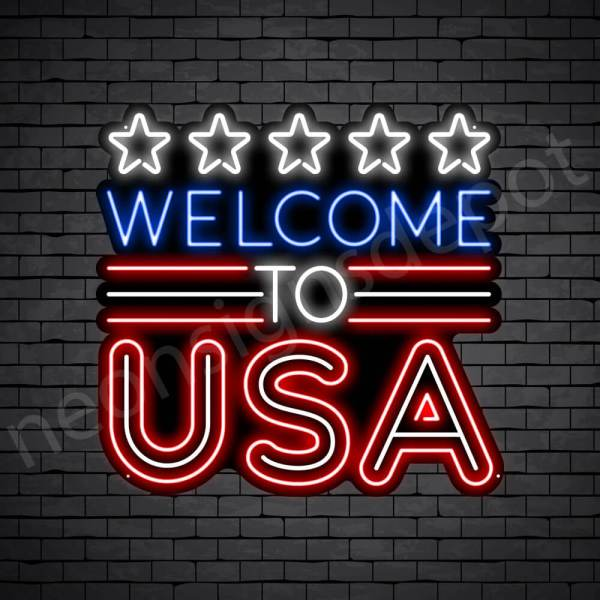Welcome to USA Flag Neon Sign - Black