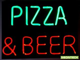 pizza & beer neon