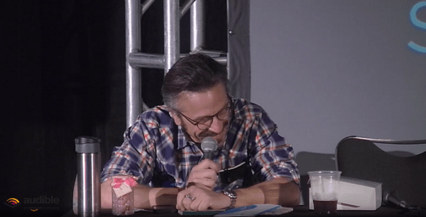 Comedian Marc Maron got serenaded by the audience for his 51st birthday (Twitter/@lapodfest).