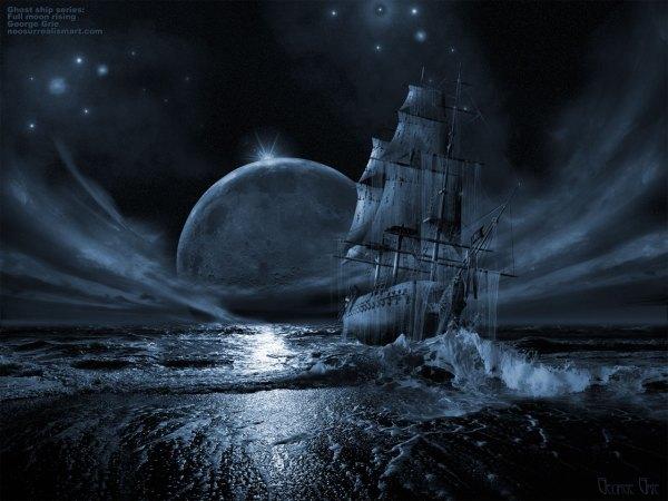 Modern Art Ghost Ship Series Full Moon Rising 3d
