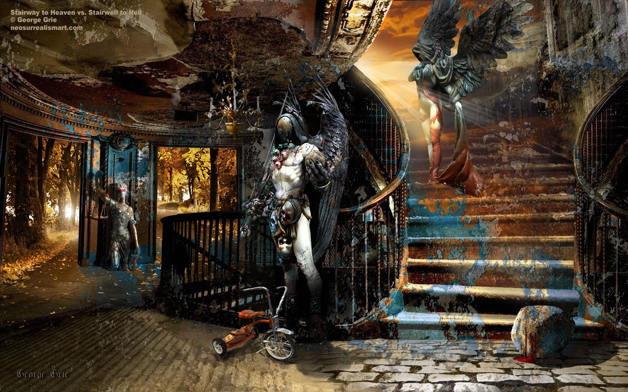 Stairway to Heaven vs Stairwell to Hell surreal art