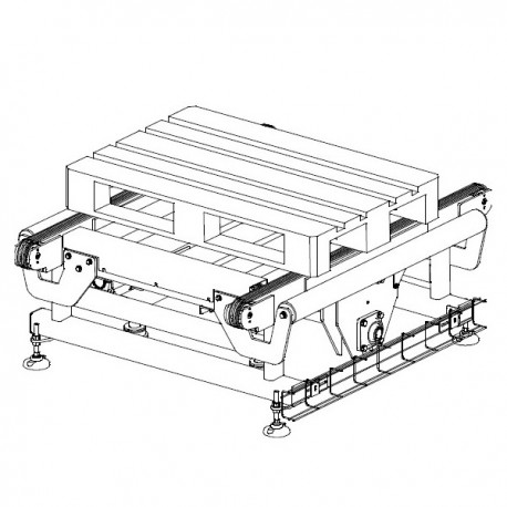 DOUBLE CHAIN PALLET CONVEYOR WITH RIGHT ANGLE EXIT