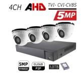 מערכת 4 מצלמות אבטחה כיפה AHD 5MP