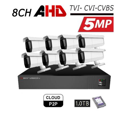 מערכת 8 מצלמות אבטחה צינור 5MP