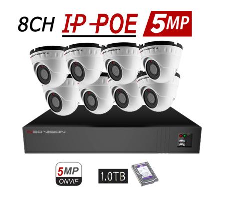 מערכת 8 מצלמות כיפה POE 5MP