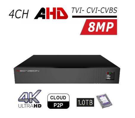מכשיר הקלטה 4 ערוצים AHD 4K