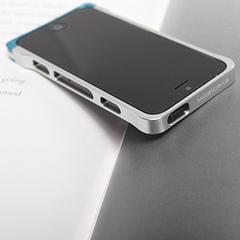 COREMECHATEC MOBiCRAB メタルバンパー for iPhone5(シルバー+ブルー) RX-IP5MB-SLBL