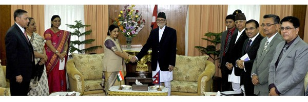 Visiting Indian Minister for External Affairs Sushma Swaraj meets Prime Minister Sushil Koirala at the PM's residence in Baluwatar.
