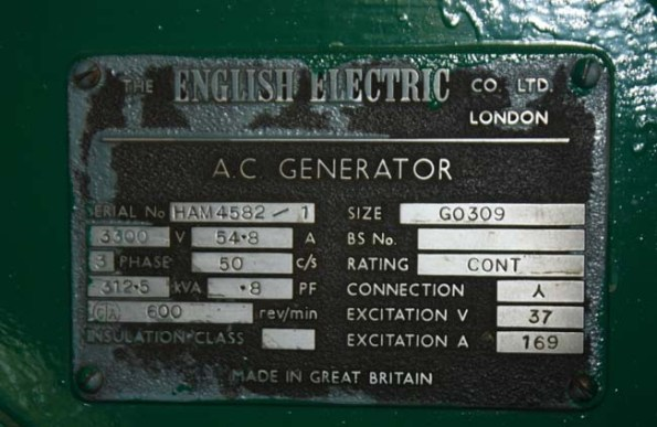 Details of the manufacturer on equipment 'The English Electric CO. LTD. London'