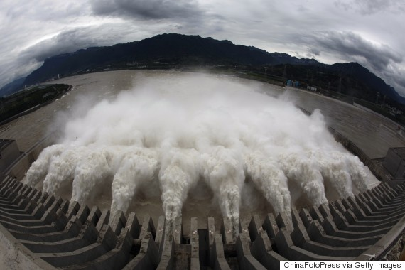 Flood water is released from spillways of the Three Gorges Dam on September 19, 2014 in Yichang, Hubei Province of China.