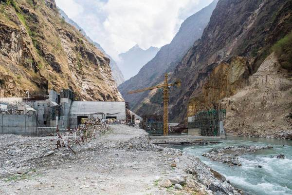 Upper Tamakoshi Hydro Project Dam site. The work at the dam site could not continue even after one year as the road to dam site was destroyed by the last year earthquake. Dolakha, Nepal