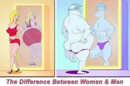 Women vs Men looking at mirror