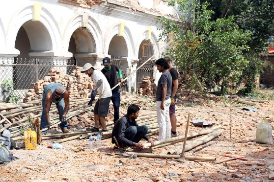 Foreigners Helps To Build Temporary Shelter For Durbar High School