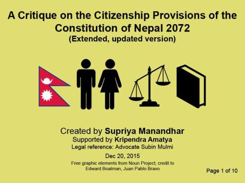 A Critique On The Citizenship Provisions Of The Constitution Of Nepal 2072