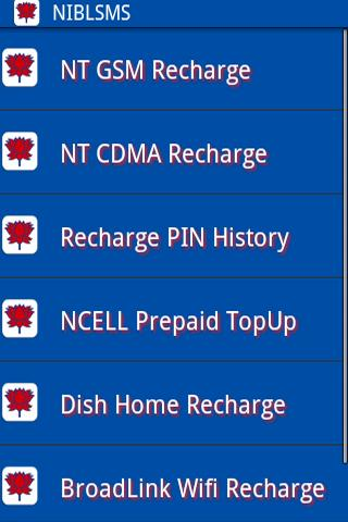 NIBL SMS banking app recharge
