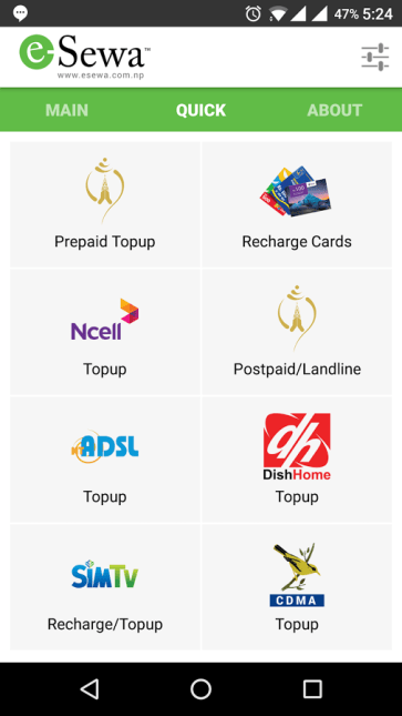 eSewa app mobile recharge