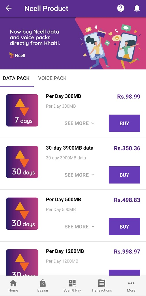 Ncell product in Khalti wallet