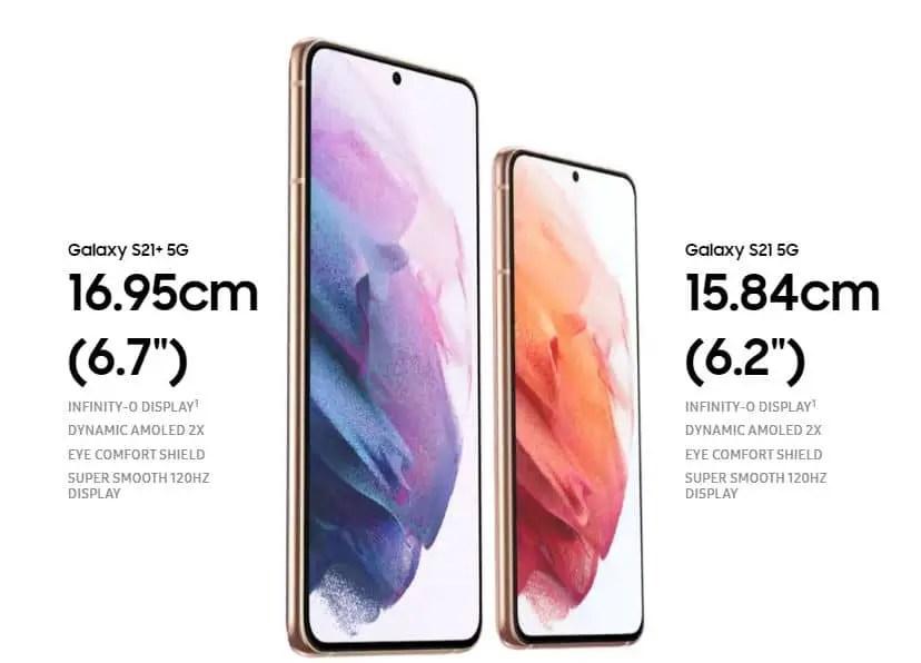 Samsung Galaxy S21 and Galaxy S21 Plus Display