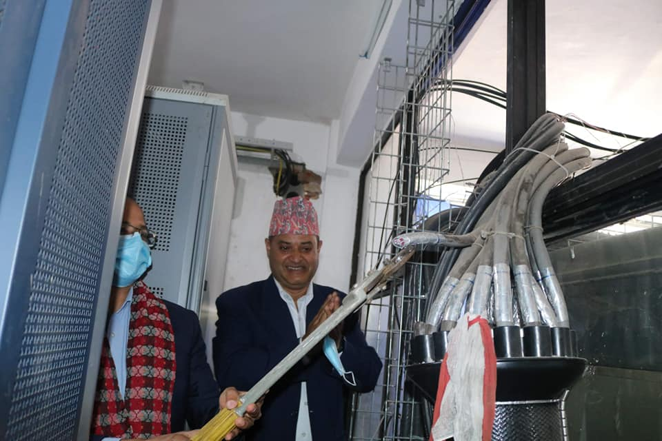 Nepal Telecom MD cutting copper cable to mark the transformation to Optical fiber for fixed services