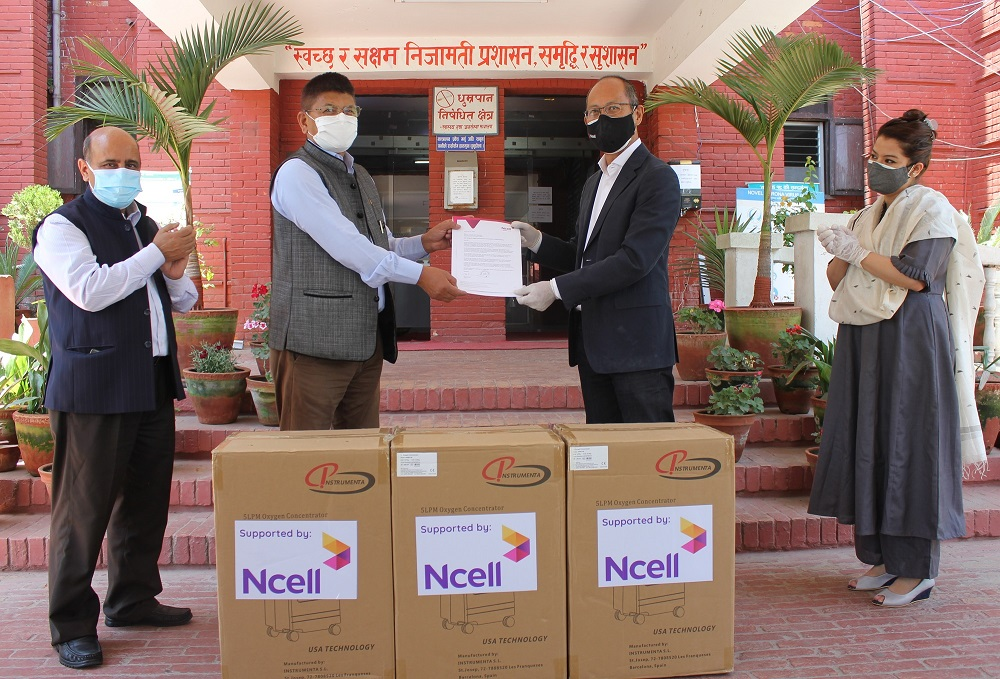 Ncell supports oxygen concentrators to government of Nepal