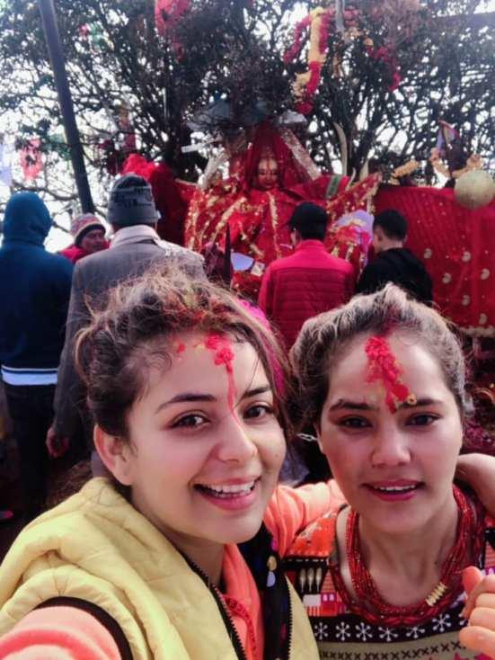neeta dhungana in temple