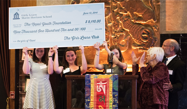 Marin Horizon School students present check to NYF