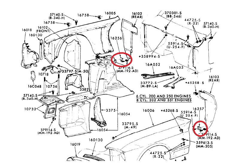 1967 1968 Mustang Rear Splash Shield Support Brackets New