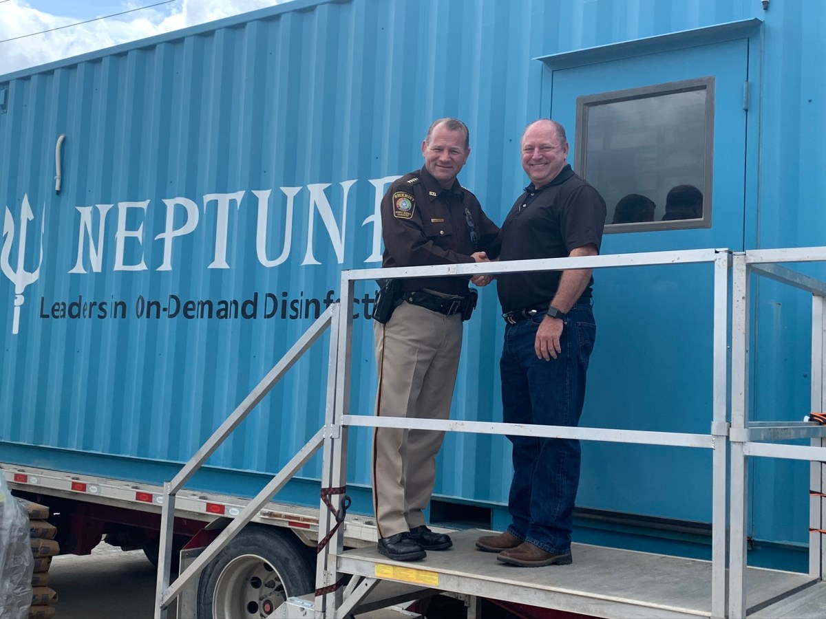 Neptune Provides MTU to Fort Bend County Sheriff to Help Fight COVID19. MTU Manufactures up to 25,000 gallons of Bleach per Day.