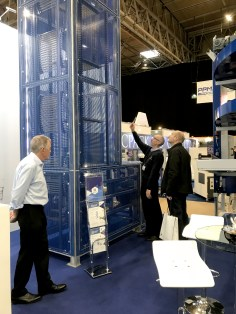 Sales Director Simon Musgrave talks the customer around the boxlifter machine