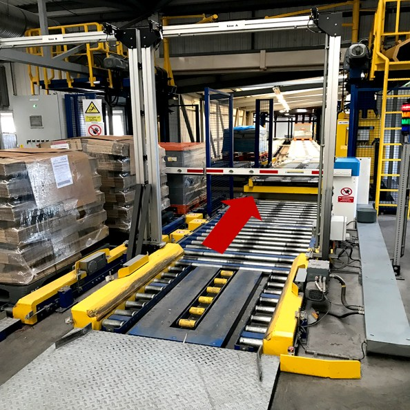Varying Height Infeed Conveyors which raise to meet the next level of conveyor