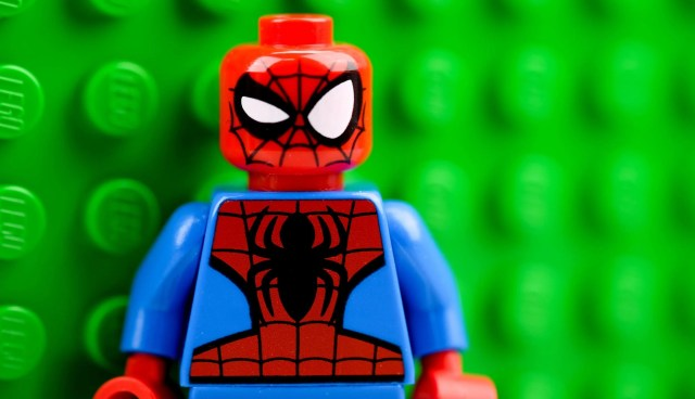 A picture of a LEGO Spider-man, who is interested in weight loss.