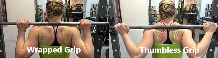 Here are the two common grips for your barbell squat.