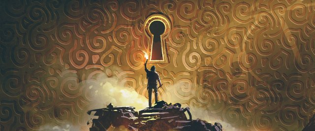 the adventure man with a torch standing and looking at a large keyhole on the brass wall, digital art style, illustration painting