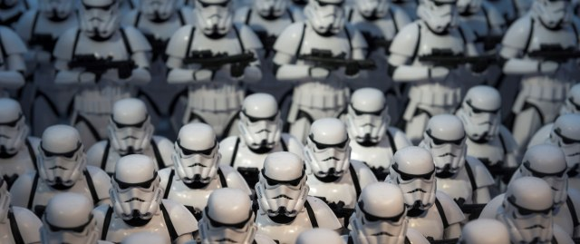 A picture of a crowd of Stormtroopers, who could probably use some extra space.