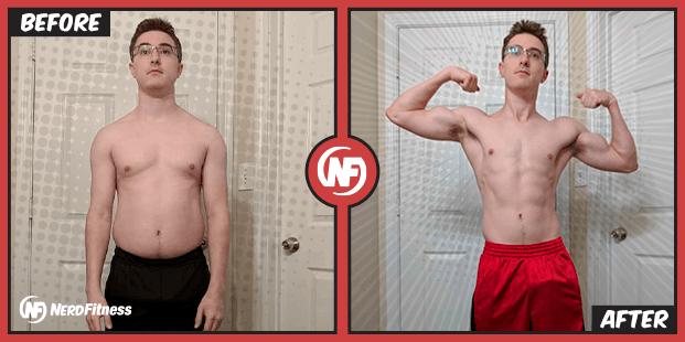 Jimmy before and after he did bodyweight training