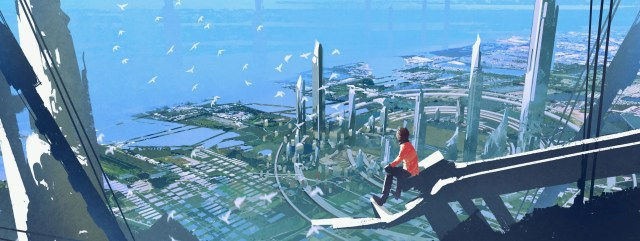 Aerial view with the man sitting on edge of building looking at futuristic city.