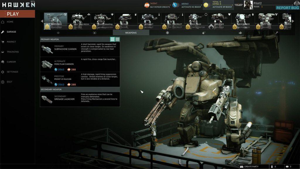 nell'hangar potremo gestire il nostro esercito di robot