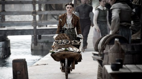 Arya's rocking the Miley Cyrus VMA performance buns. [HBO]