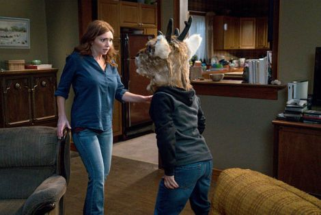 Oh, Max, why did you have to put on the deer head? [Source: Liane Hentscher/The CW]