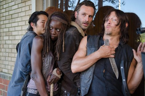 Steven Yeun as Glenn Rhee, Danai Gurira as Michonne, Andrew Lincoln as Rick Grimes, and Norman Reedus as Daryl Dixon - The Walking Dead _ Season 6, Episode 11 - Photo Credit: Gene Page/AMC