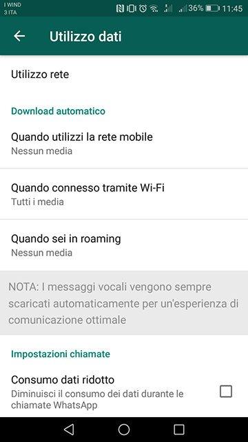 whatsapp disattivare autosave download automatico