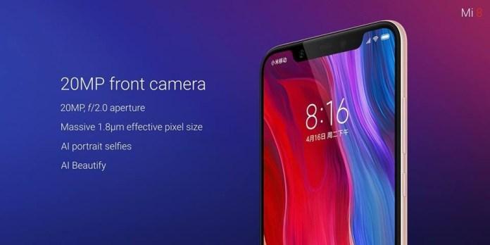 Smartphone Xiaomi Mi 8 front camera Android