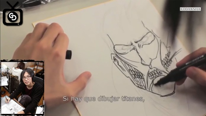 Hajime Isayama working on Attack on Titan