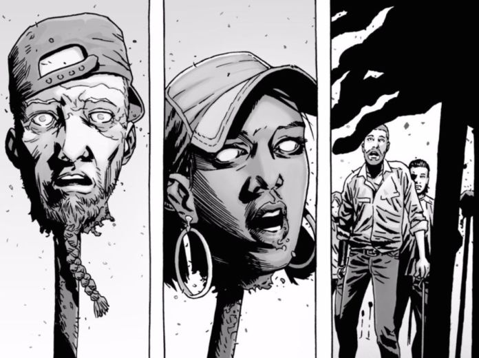 The Walking Dead, la testa di Rosita (al centro) impilata sulla picca