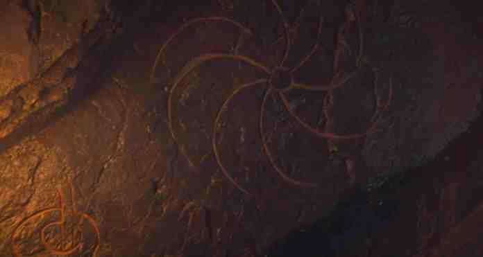 La spirale trovata nella grotta sotto Roccia del Drago - Trono di Spade