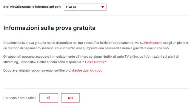 netflix fine al servizio di prova gratis in italia