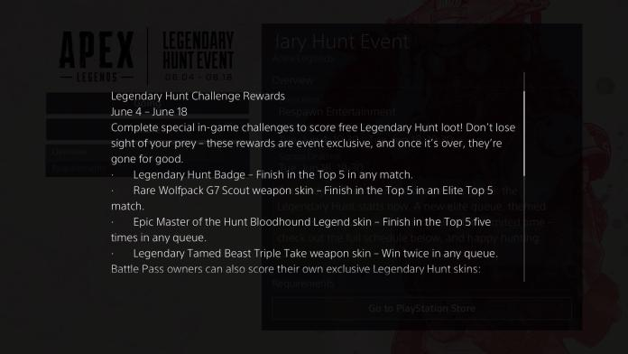 Legendary hunt rewards